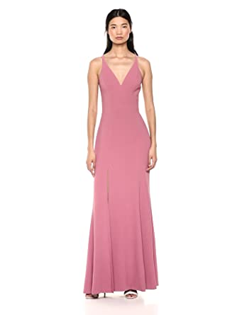 c6c41012fcb Dress the Population Women s Iris Plunging Spaghetti Strap Sleeveless Long  Gown Dress
