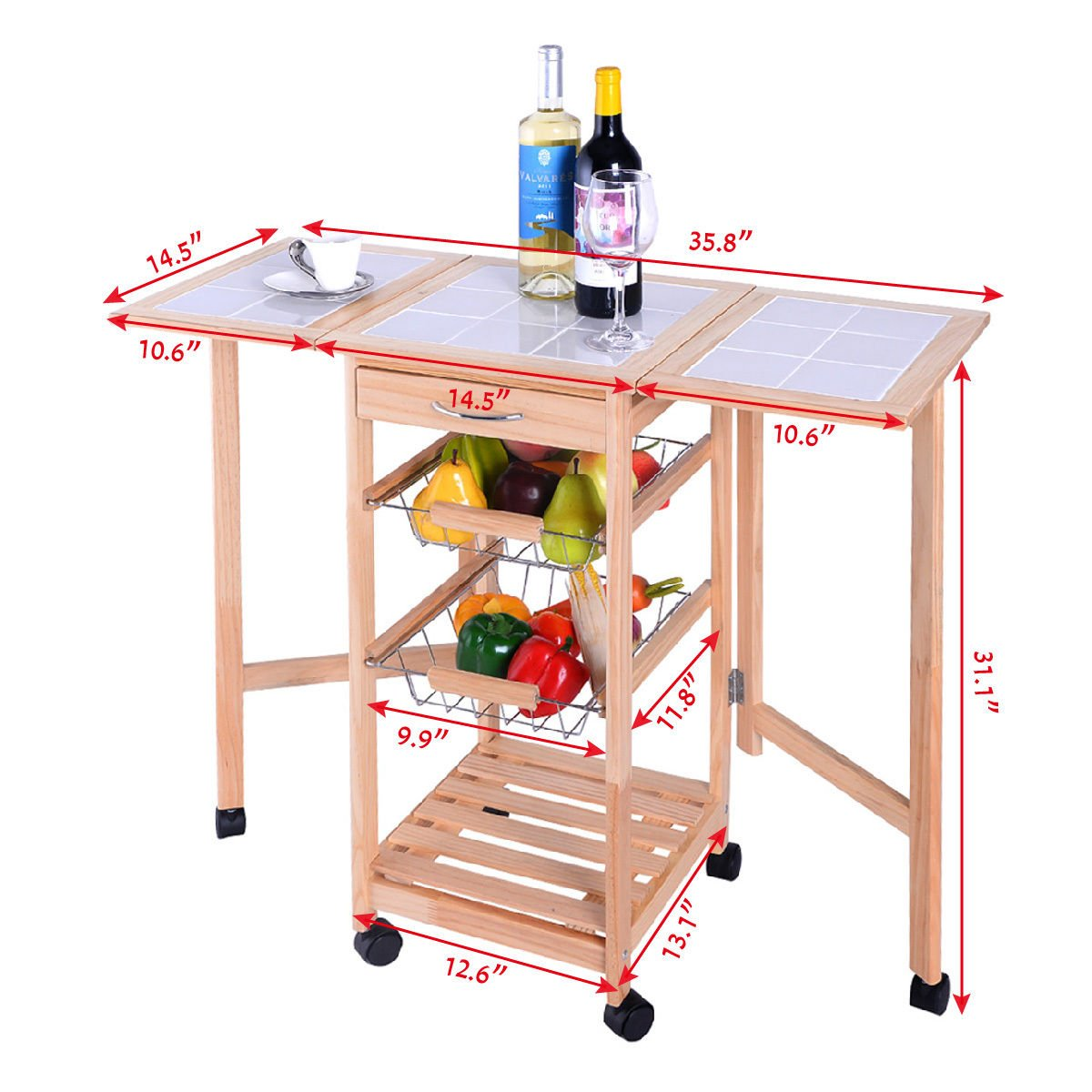 PROSPERLY U.S.Product Portable Rolling Wood Kitchen Trolley Cart Drop Leaf Storage Drawers Rack Basket by Prosperly (Image #5)