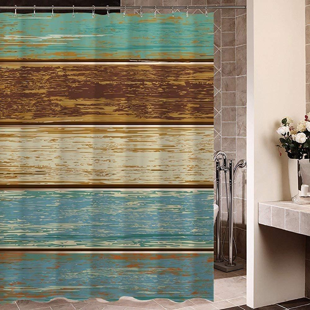 Art Shower Curtain Rustic Old Barn Wood Polyester Fabric Waterproof Curtain Bathroom Decoration 60X72in Decorfine