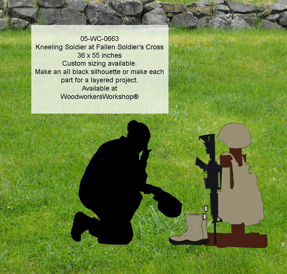 WoodworkersWorkshop Woodworking Plan to Make A Kneeling Soldier at Fallen Soldiers Cross Silhouette Not A RTA Kit