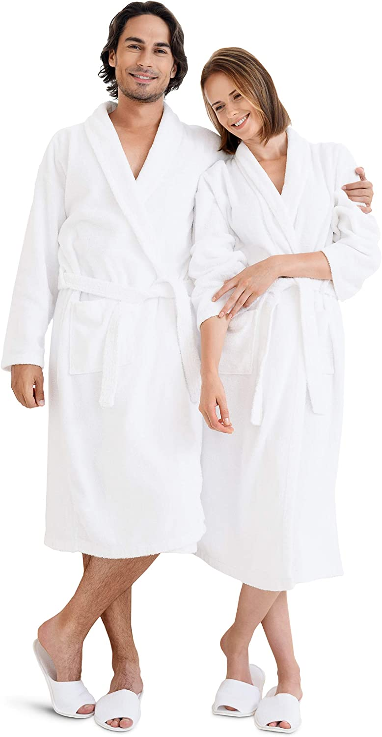 Luxury White Bath Robe for Women and Men - Womens Mens Terry Cloth Bathrobe - Spa Robe Bath Robe - Absorbent, Lightweight with Pockets - Unisex