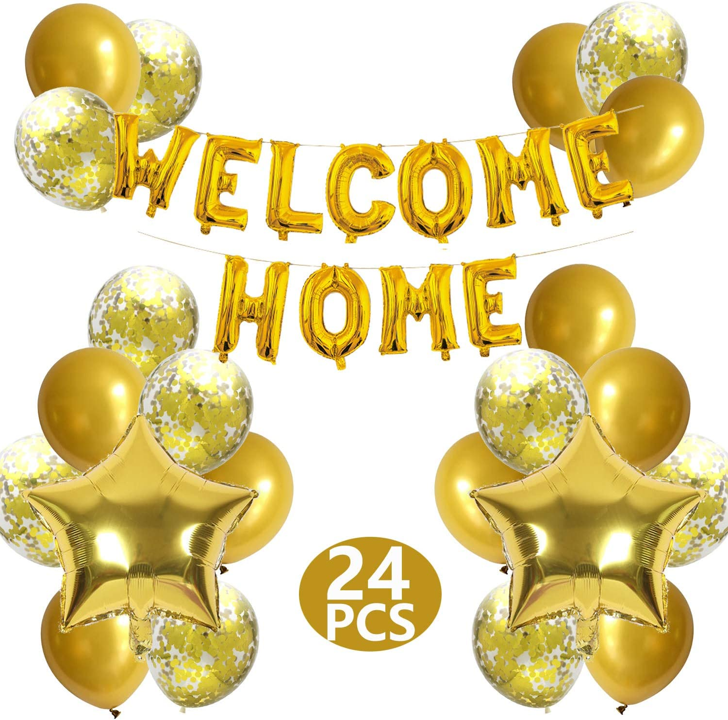 JumDaQ Welcome Home Letter Balloon Banner with Star Sequin Balloons for Home Family Party Decorations Gold(24 Pack)