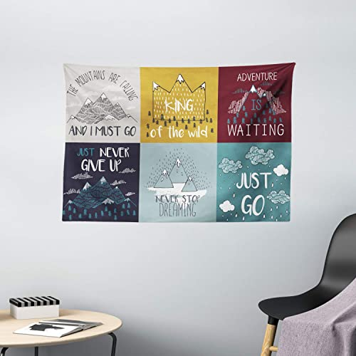 Ambesonne Saying Tapestry, Inspirational and Motivational Life Phrase Adventure Journey Themed Illustration, Wide Wall Hanging for Bedroom Living Room Dorm, 60 X 40 , Umber Magenta