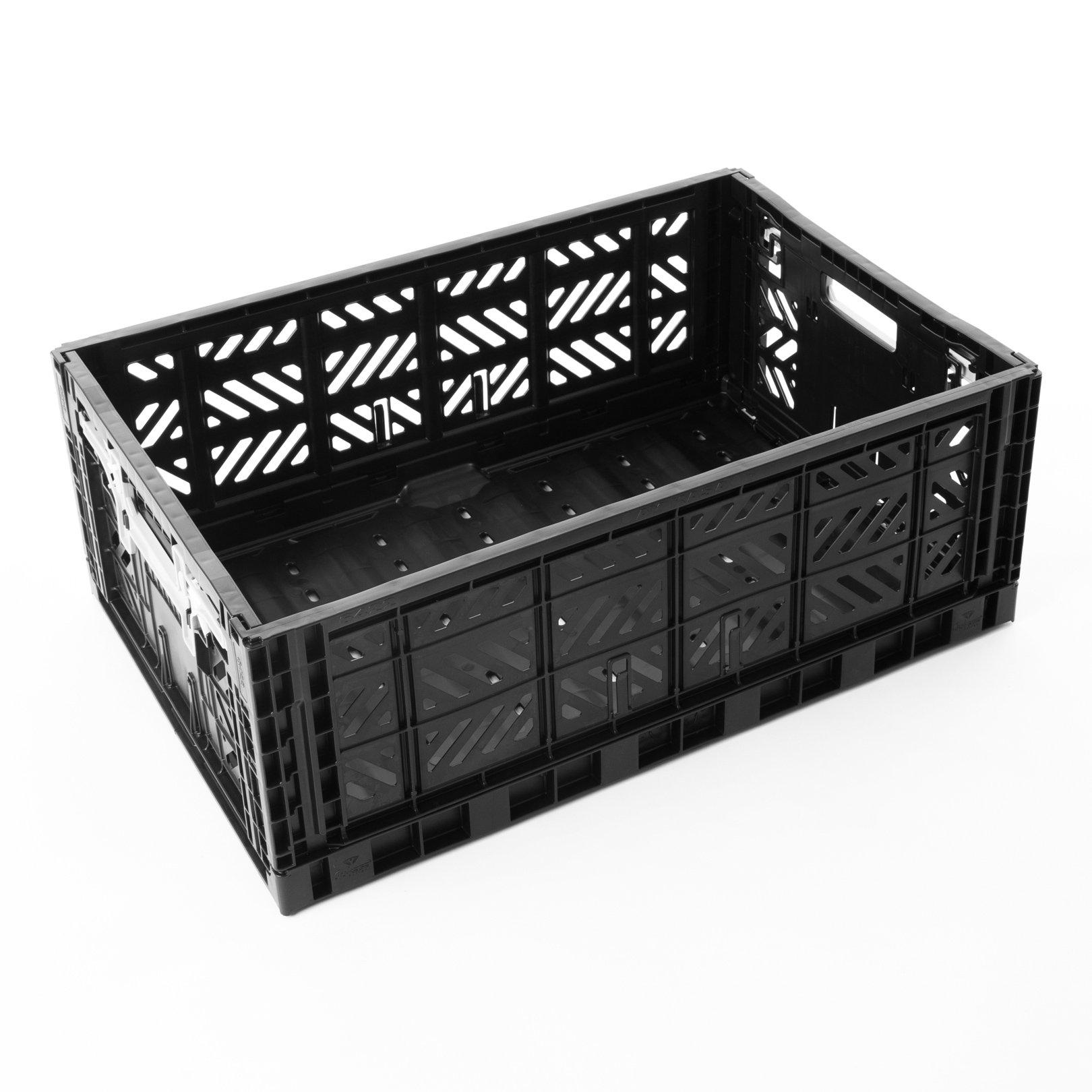 AY-KASA Collapsible Storage Bin Container Basket Tote , Folding Basket CRATE Container : Storage , Kitchen , Houseware Utility Basket Tote Crate = Maxi-BOX COMFORT LOCK ( BLACK )