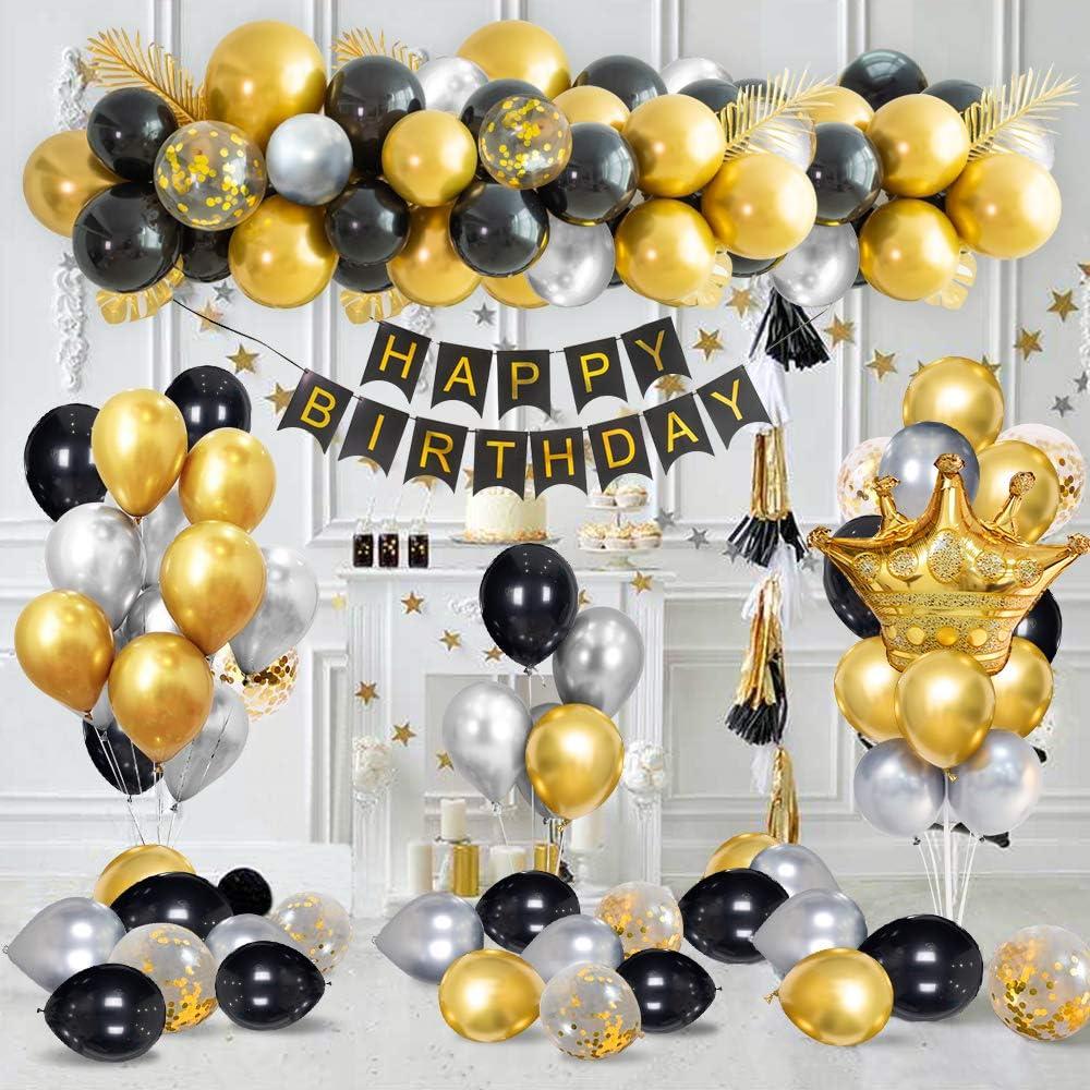 Decoraciones de Fiesta de Cumpleaños de Lujo Con Pancarta de Feliz Cumpleaños en Oro Metálico, Globos de Confeti de Oro Negro Plateado, Globos de Lámina de Látex de Corona