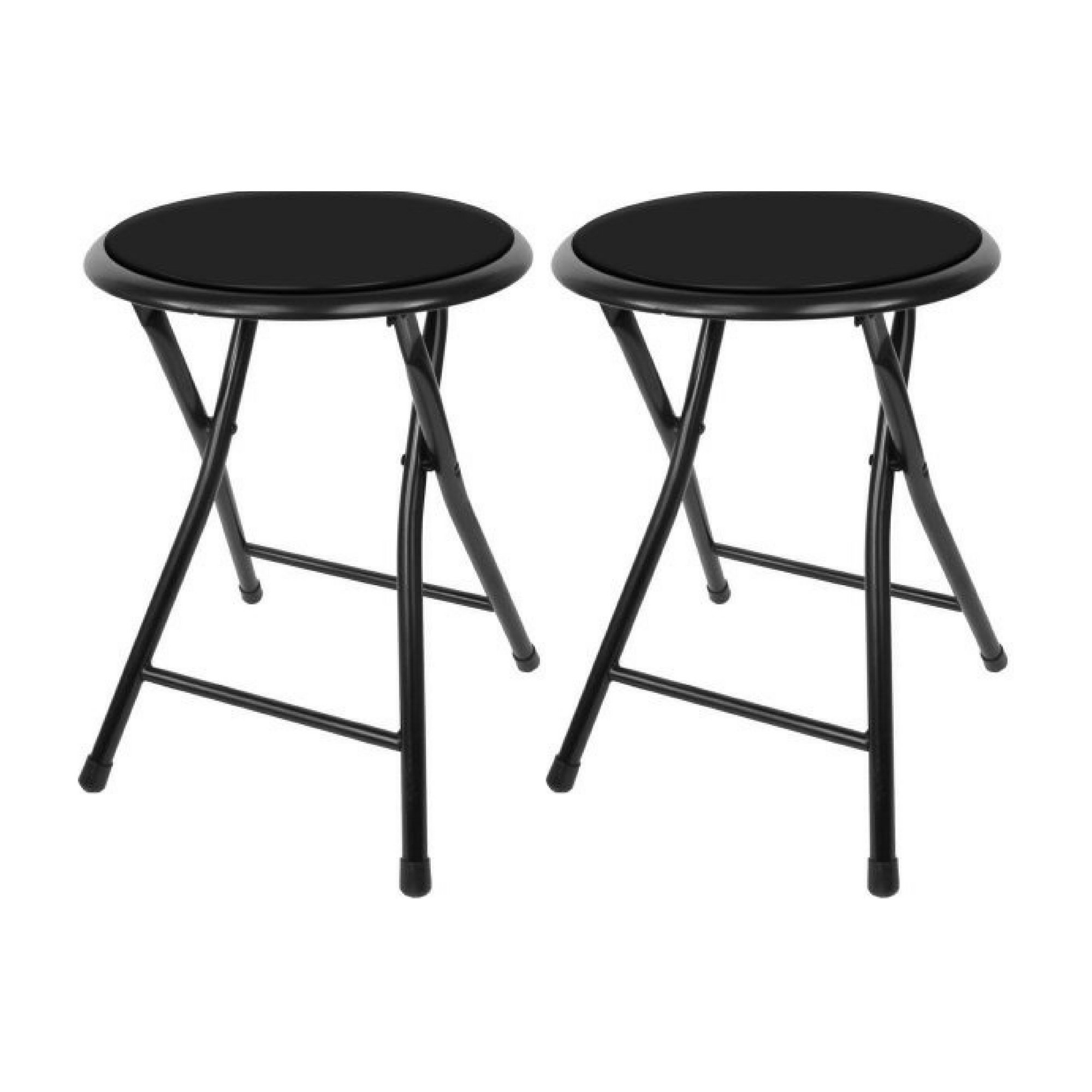 Trademark Home Collection 18'' Cushioned Folding Stool, Black - Set of two