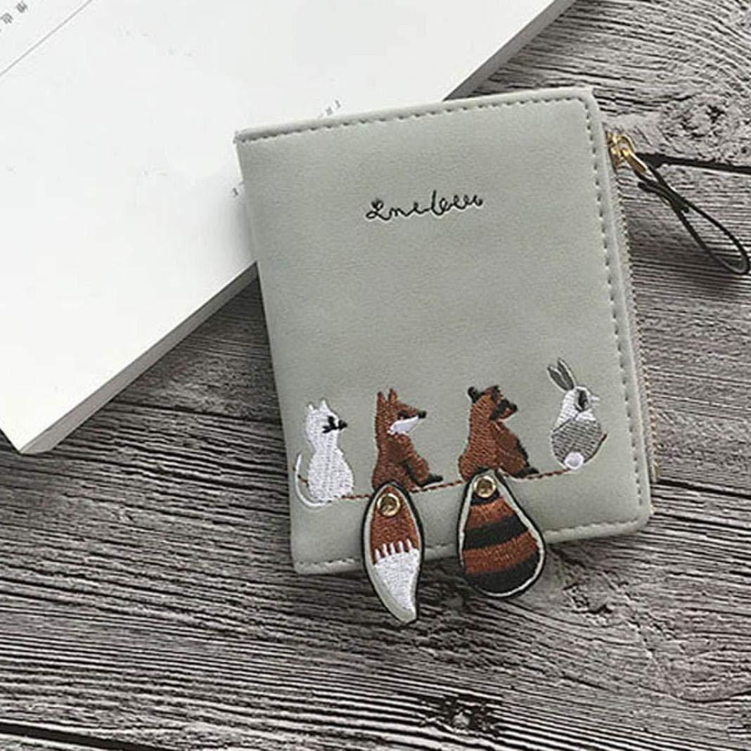 BaZhaHei-Cartera Carteras Mujer Monedero de Las Mujeres de la Manera Encantadora de Dibujos Animados Animales pequeño Paquete de Tarjeta de Monedero de la ...