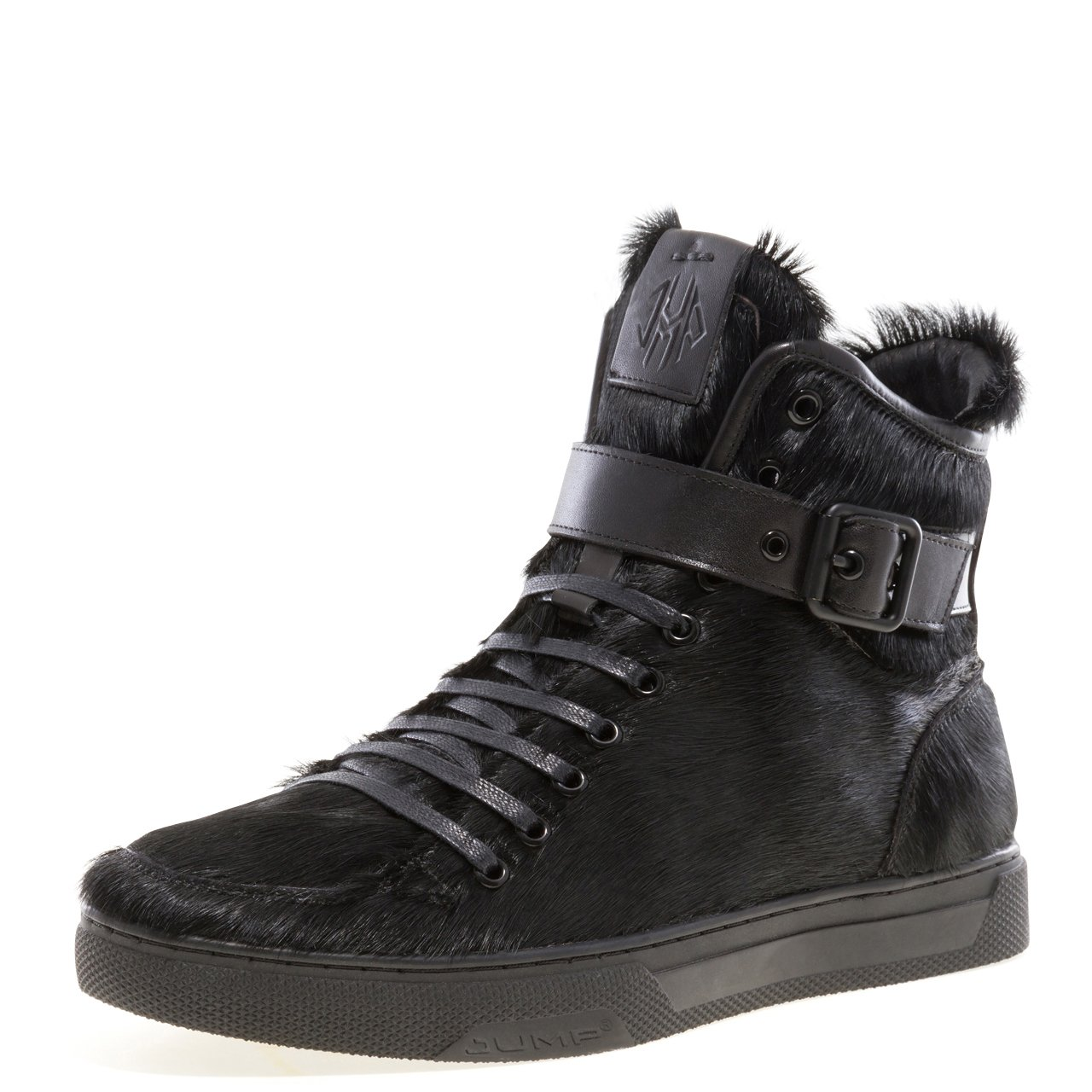 JUMP NEWYORK Men's Sullivan Round Toe Hand-Painted Leather Lace-Up Inside Zipper and Strap High-Top Sneaker Black Fur 13 D US Men