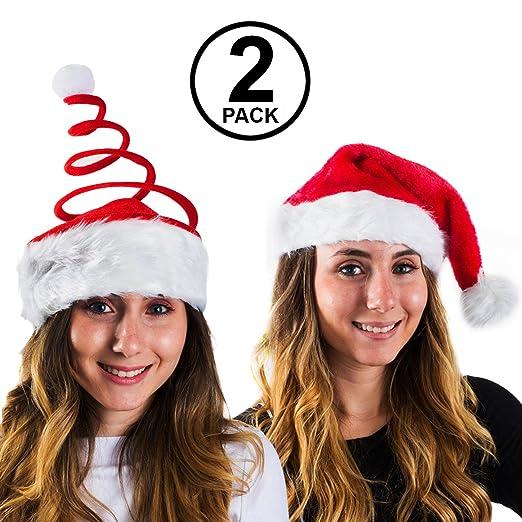 santa coil hat santa hats for adults christmas hats 2 pack - Funny Christmas Hats Adults