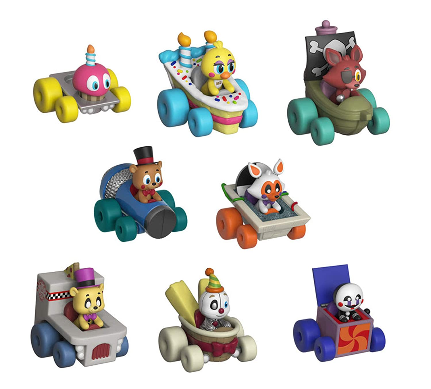 Amazon Com Funko Fnaf Super Racers Set Of 8 Foxy The Pirate Chica