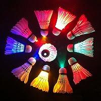 Fayle - Balón de bádminton LED de colores para bádminton con luz LED que brilla en la oscuridad, luz de bádminton Birdies para actividades al aire libre y interiores, Blanco, 80mm x 60mm