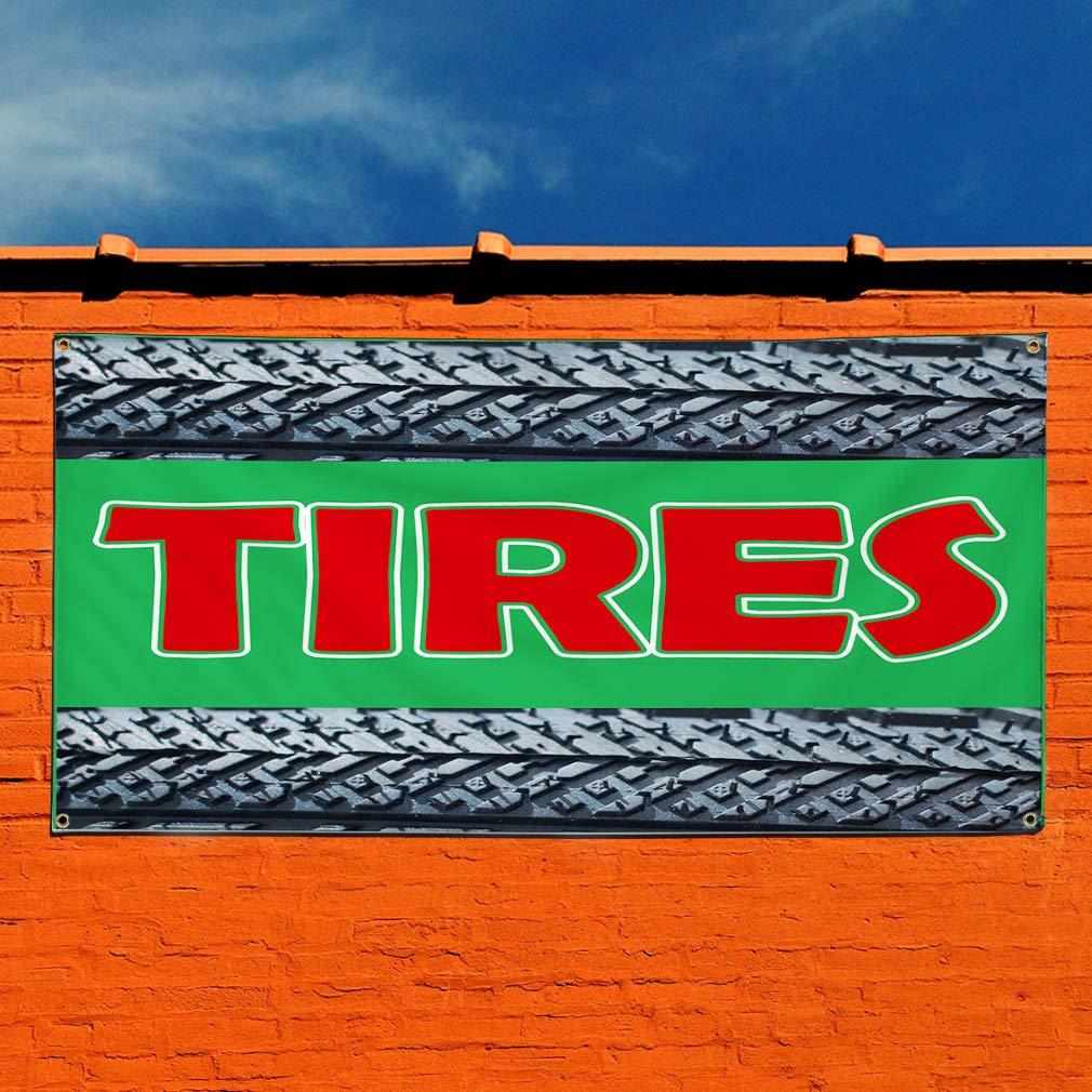 Vinyl Banner Sign Tires Black Green Red Business Car Marketing Advertising Black 48inx96in One Banner 8 Grommets Multiple Sizes Available