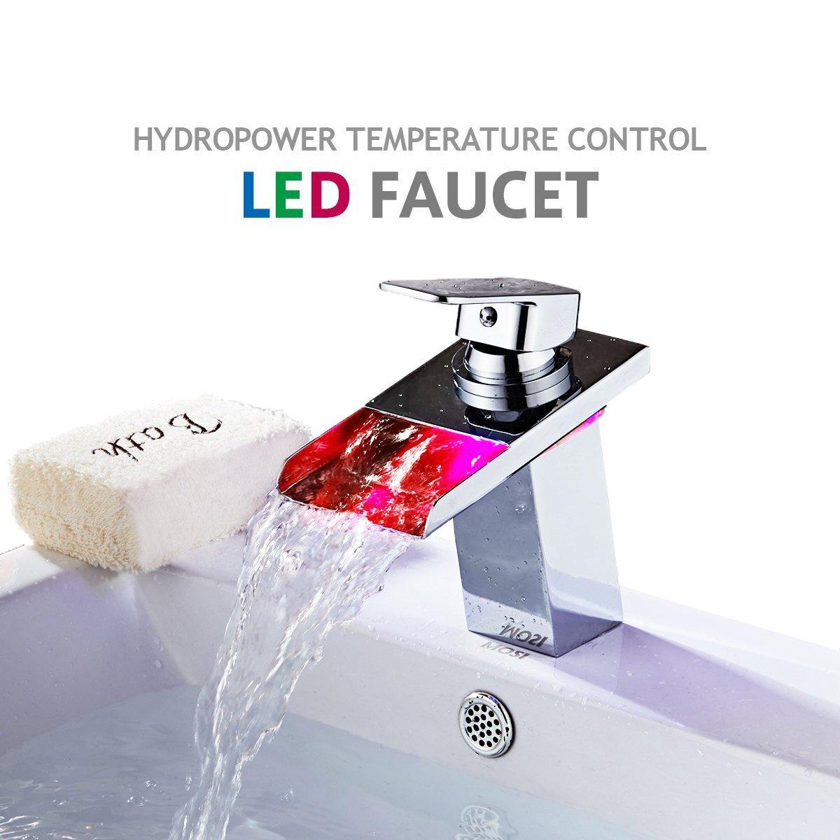 TAPCET LED Bathroom Sink Faucet Waterfall Faucet Water Power Vessel ...