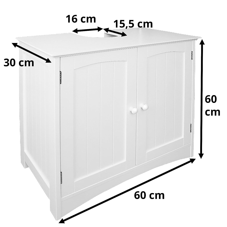 Verstellbarer Einlegeboden /& Siphon Aussparung perfekt f/ür Badezimmer im Landhausstil B//H//T Bad-Unterschrank, 60 x 60 x 30 cm Anaterra Waschbeckenunterschrank wei/ß