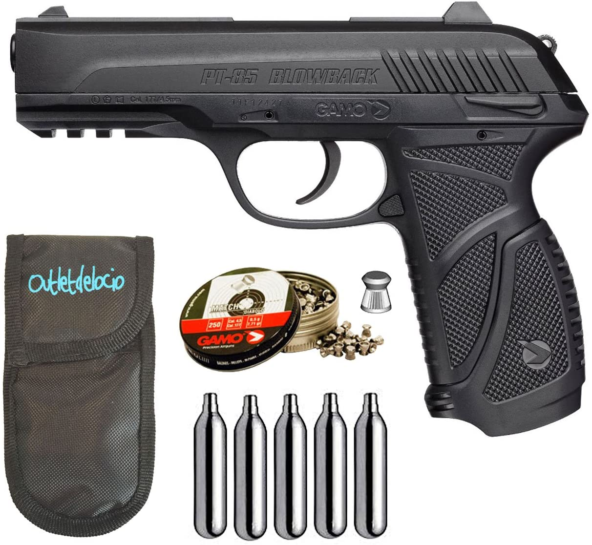 Pack pistola Perdigón Gamo PT-85 4,5mm Blowback. + Funda + balines + bombonas co2 23054/29318/38203