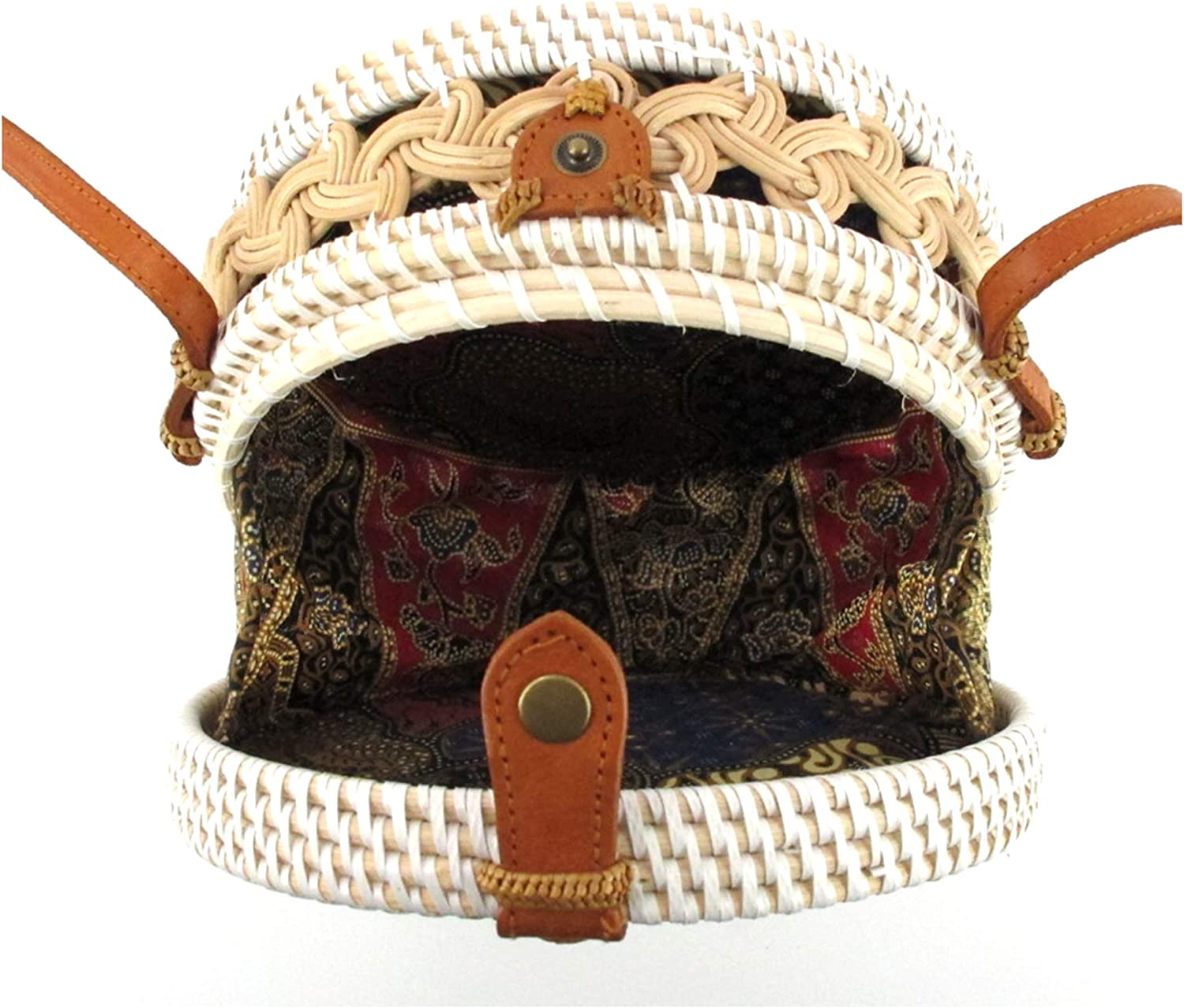 Round Double Braided and Leather ClipWhite Plastic Woven//w Genuine-Leather Strap Summer Beach Handbag
