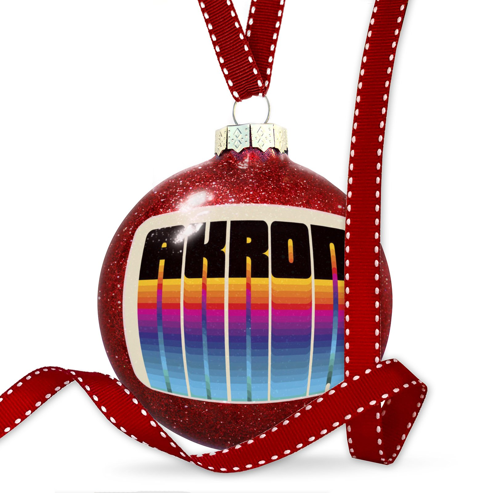 Christmas Decoration Retro Cites States Countries Akron Ornament by NEONBLOND (Image #1)