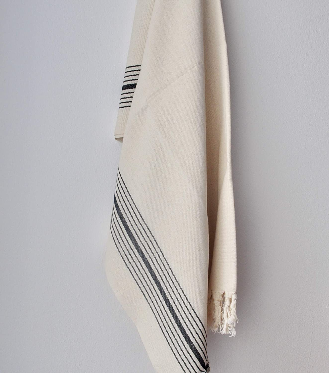 perfect gift durable towel soft and absorbent with black stripes Aegean Turkish towel Organic towel