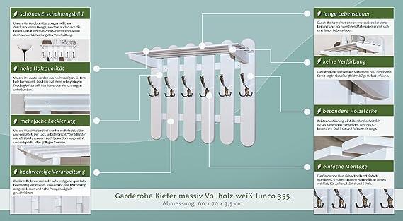 H x B x T Abmessungen 60 x 70 x 3,5 Garderobe Kiefer massiv Vollholz wei/ß Junco 355