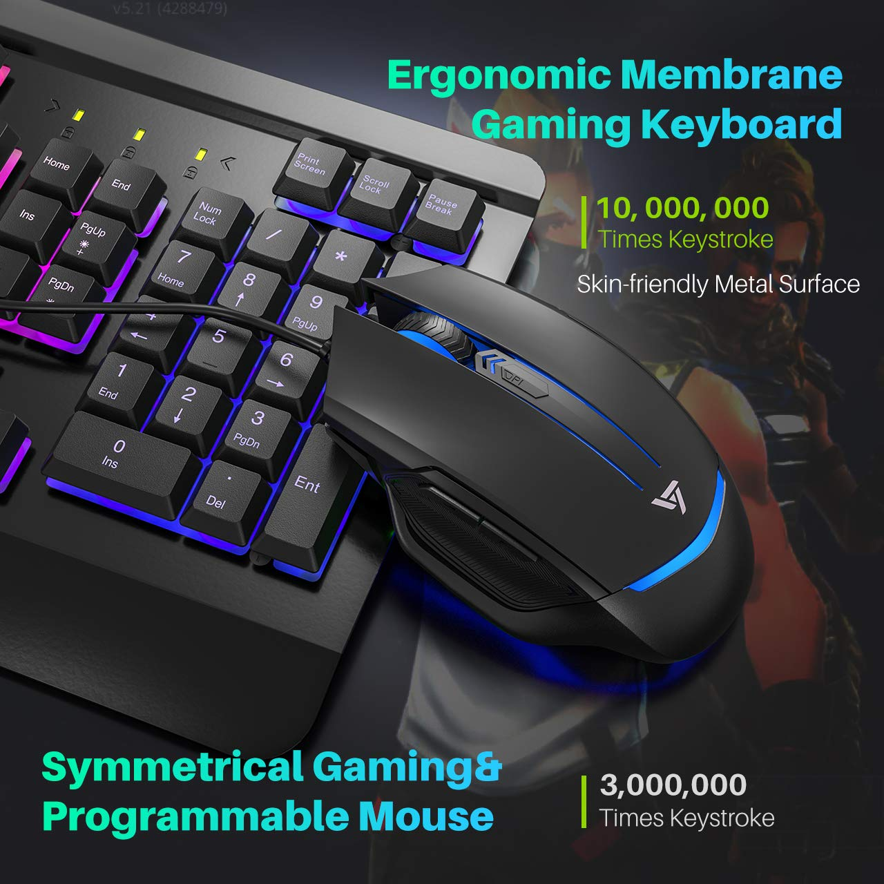 VicTsing Gaming Keyboard Mouse Combo, Ultra-Slim Rainbow LED Backlit Keyboard with Ergonomic Wrist Rest, Programmable 6 Button Mouse for Windows PC Gamer, Spill-Resistant Design - Black by VicTsing (Image #2)