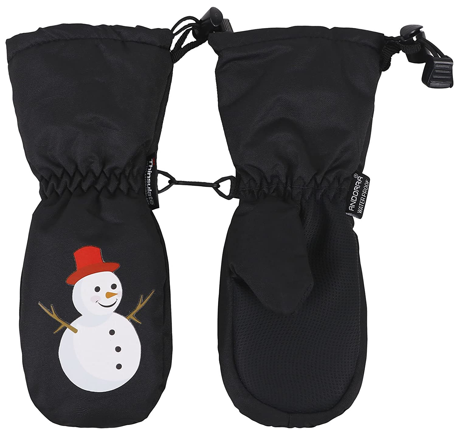 ANDORRA Kids Premium Weather-Proof Thinsulate Snow Mittens,Extra Long Cuff