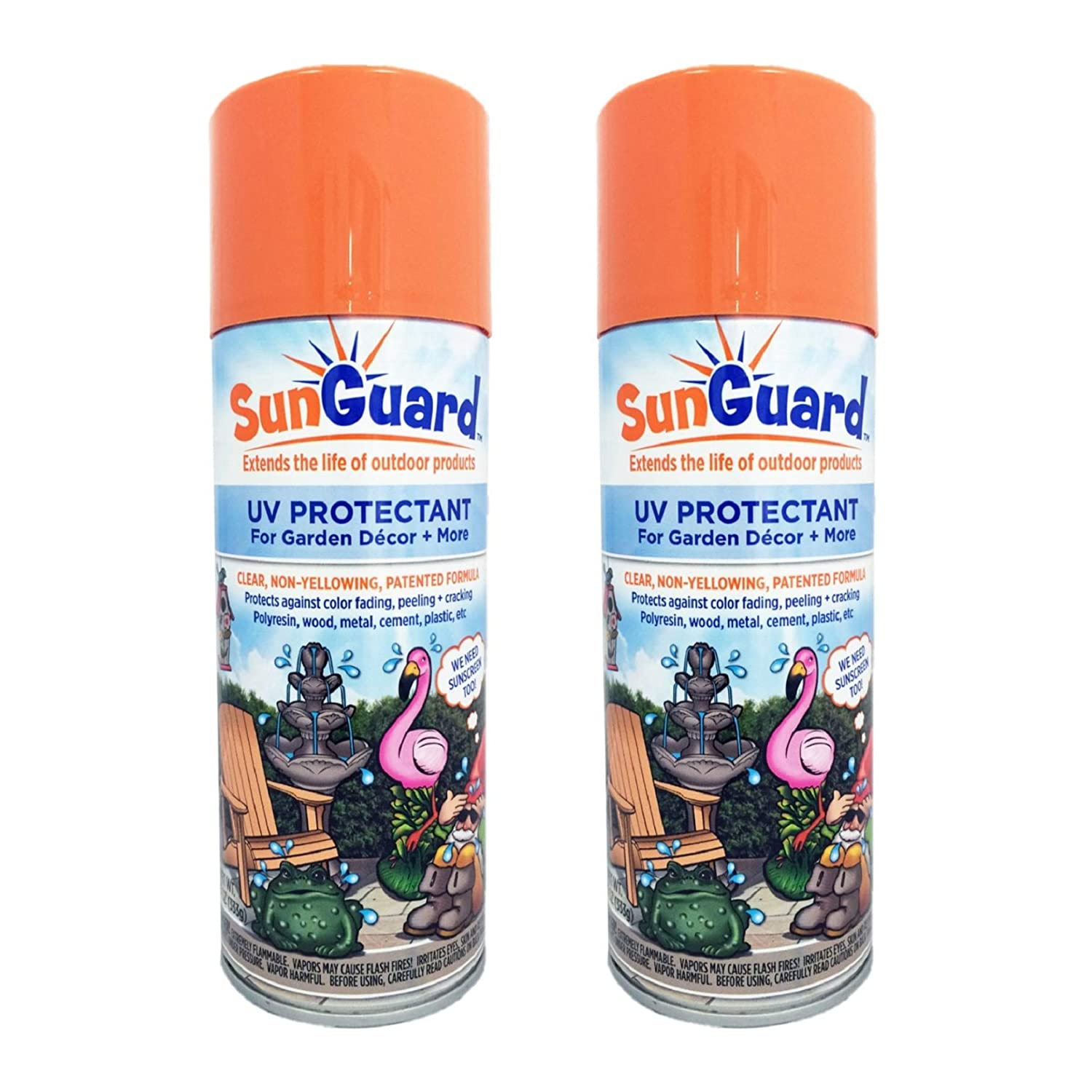 SUNGUARD UV Protectant Spray for Outdoor Decor, Furniture & More (2-Pack) Prevents Fading Peeling and Cracking