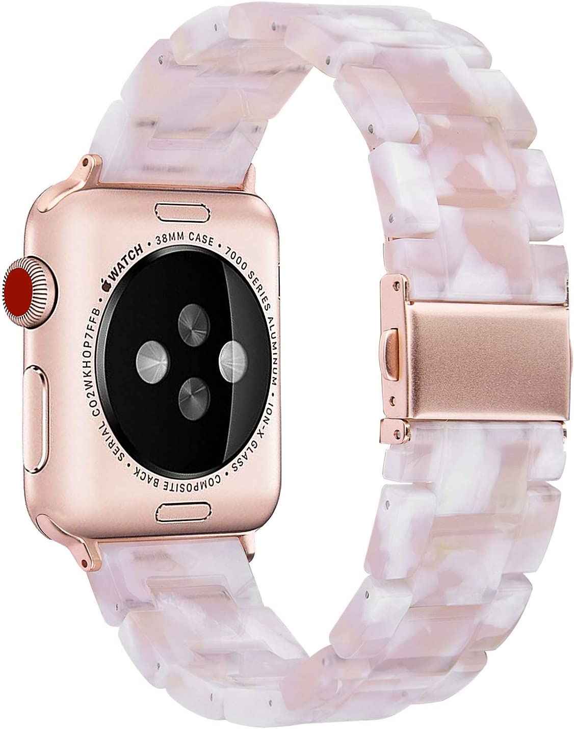 V-MORO Resin Strap Compatible with Apple Watch Band 38mm 40mm Series 5/4/3/2/1 Women Men with Stainless Steel Buckle, Apple iWatch Replacement Wristband Bracelet ( Floral Pink, 38mm)