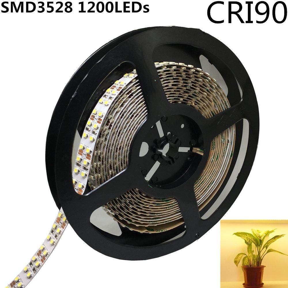 LightingWill LED Strip Light CRI90 SMD3528 1200LEDs 16.4Ft/5M Ultra Warm White 2700K-3000K DC12V 96W 240LEDs/M 19.2W/M 15mm White PCB Flexible Ribbon Strip Adhesive Tape Non-Waterproof
