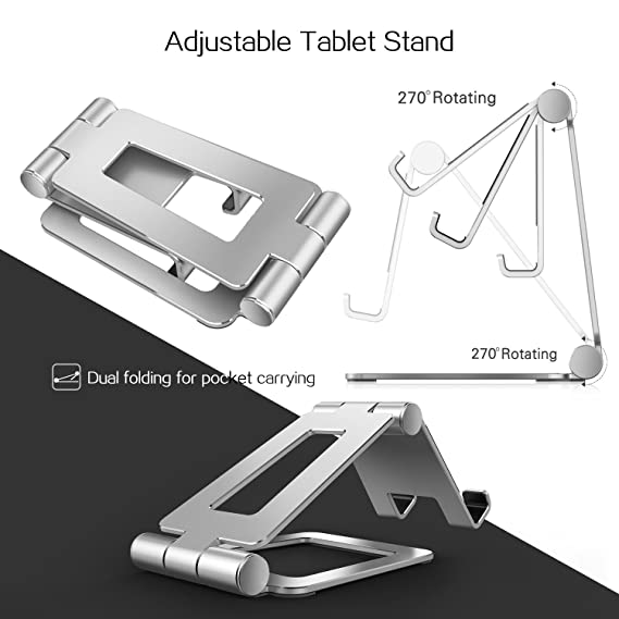 iPad Holder, iPhone Stand, Nintendo Switch Stand Adjustable, iPad Pro Stand for Desk, Foldable iPad Mini Stand or Tablets (4-12 inch) -Silver