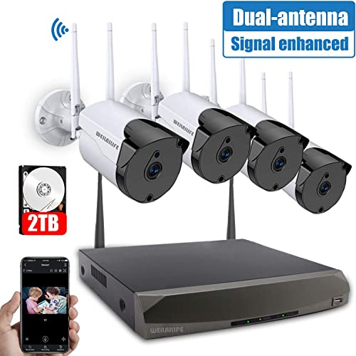 Outdoor Security Camera System Wireless, 4PCS 1.3MP Wireless Home Outdoor Business Surveillance Systems, IP WiFi Security Camera System with Night Vision, 2TB Hard Drive, APP Remote View