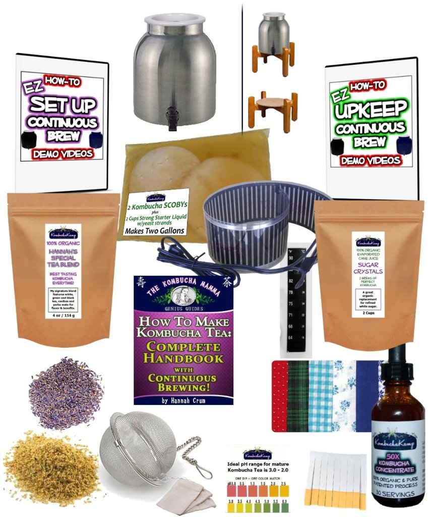 KKamp Continuous Brew Kombucha COMPLETE PACKAGE - Stainless Steel w/ Wood Stand + Essential Heat Strip by Kombucha Kamp (Image #1)
