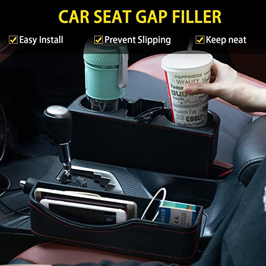 Cups Keys Prevent Items from Falling and Let You Cup Within Reach Wallets Arbnic 2 Packs Car Seat Gap Organizer for Storage Mobile Phones