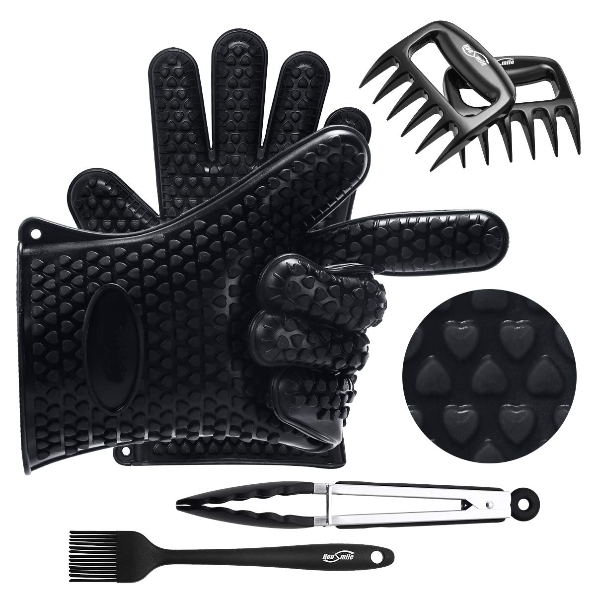Aibocn BBQ Grilling Cooking Gloves with Pork Meat Claws, Grill Brush & Kitchen Tong, Silicone Gloves Heat Resistant Up to 446F, Non-Slip 4-Piece BBQ Grill Accessories for Barbecue Party, Baking
