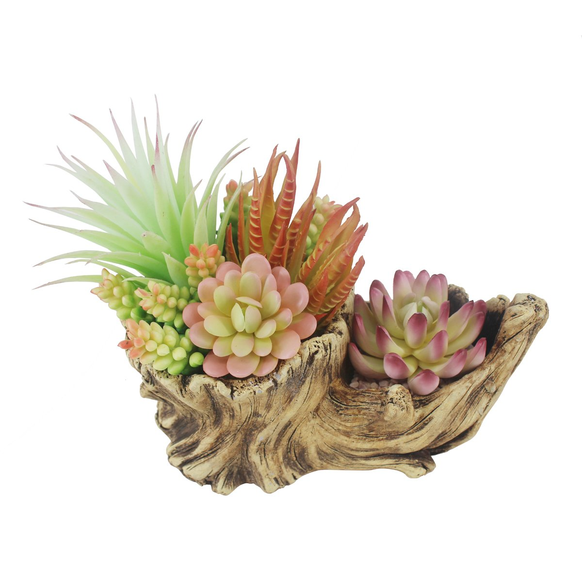Greatflower Fake Resin Driftwood Stump Pot with Artificial Succulent Arrangement by Greatflower (Image #4)