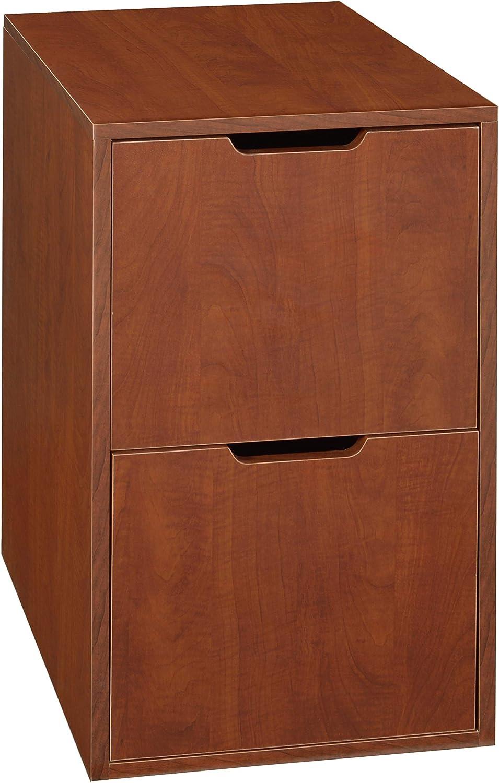 Niche Mod Freestanding Pedestal Two Drawer Filing Cabinet, Cherry