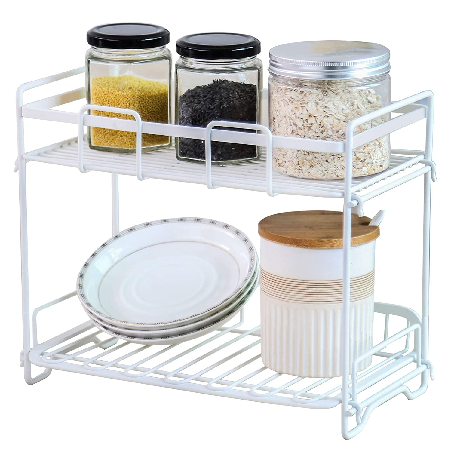 HOMURY 2-Tier Spice Rack Organizer,Free Standing Holder for Kitchen and Bathroom,BSR202701MW,White