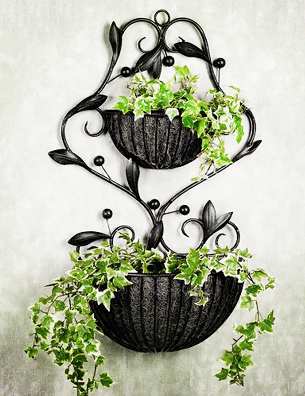 Eisen-Blumen-Rack Europäischer Stil Hirten-innen-wohnzimmer an der wand hängender blumentopf blumenregal ( farbe : B )