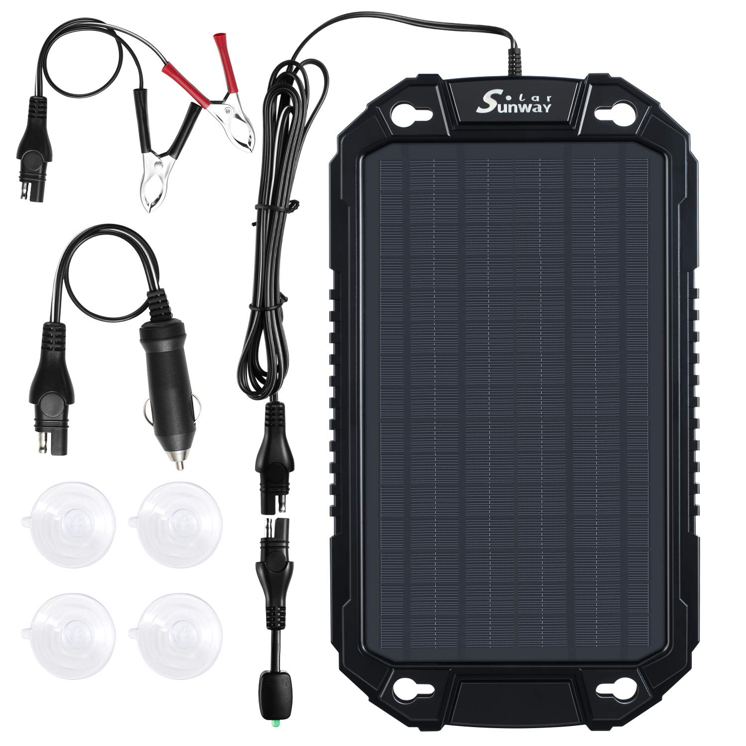 Sunway Solar Car Battery Trickle Charger & Maintainer 8W Solar Panel Power Charger kit Portable Backup Waterproof For Automotive RV Marine Boat Truck Motorcycle Trailer Tractor Powersports Snowmobile by Sunway Solar