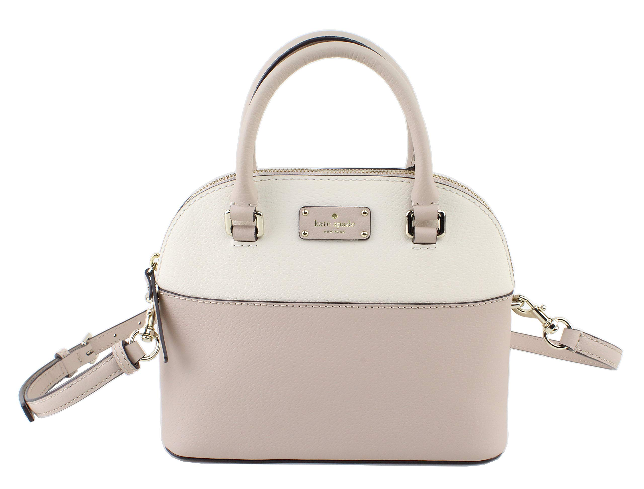 Kate Spade Grove Street Mini Carli Leather Crossbody Bag Purse Satchel Shoulder Bag (Cream/Cement) (Cream/Cement)