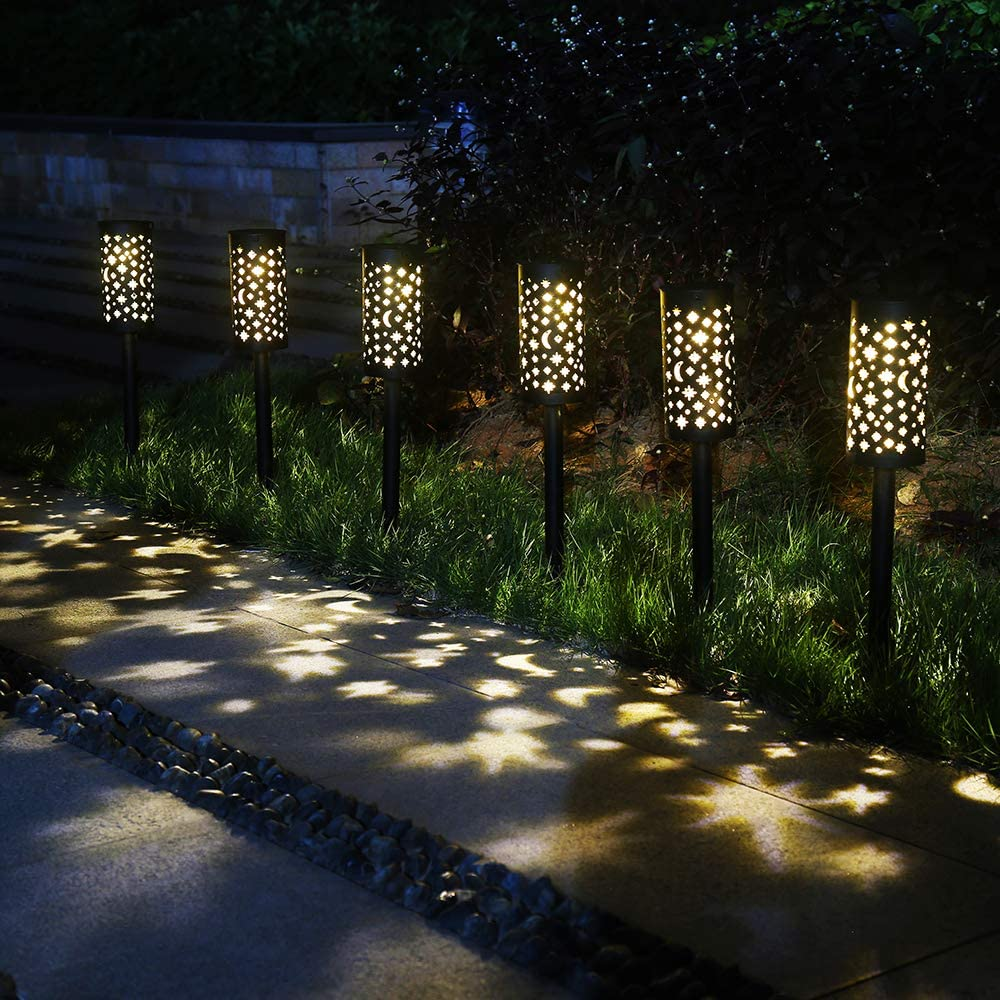 6 Pack Solar Light Outdoor Garden Patio Pathway Landscape Lights Yard Driveway Lawn Walkway Decoration Star Moon Solar Lantern Waterproof Outside Path Hanging Sidewalk Courtyard Black