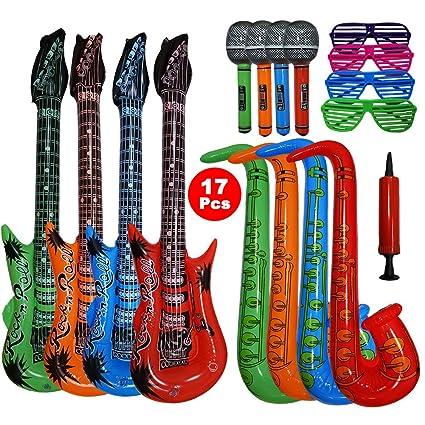 Woo Well 17 Piezas Juguete de Instrumentos Inflable de Gran tamaño,Incluye: 4 x Guitarra Inflable (93 cm), 4 x saxofón Inflable (70 cm), 4 x micrófono ...