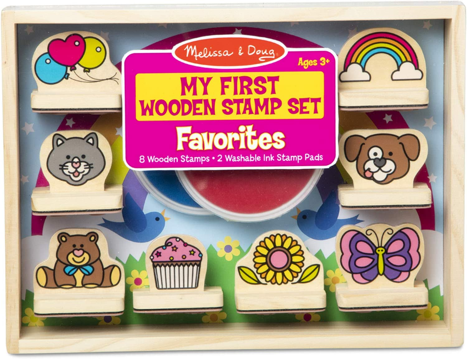 Arts /& Crafts, Sturdy Wooden Storage Box, Washable Ink, 15 Pieces Princesses Wooden Stamp Set