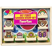Melissa & Doug My First Wooden Stamp Set – Favorites (8 Stamps with Handles, 2 Washable Ink Pads)