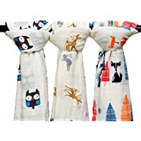 Qav Juh 3 Pack Baby Muslin Baby Swaddle Wrap Blankets, 47x47 inches Organic Cotton Muslin Receiving Blanket for Unisex Shower Gift (Owl & Deer & Fox)
