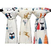 Qav Juh 3 Pack Baby Muslin Baby Swaddle Wrap Blankets, 47x47 inches Organic Cotton Muslin Receiving Blanket-(Owl & Deer & Fox)