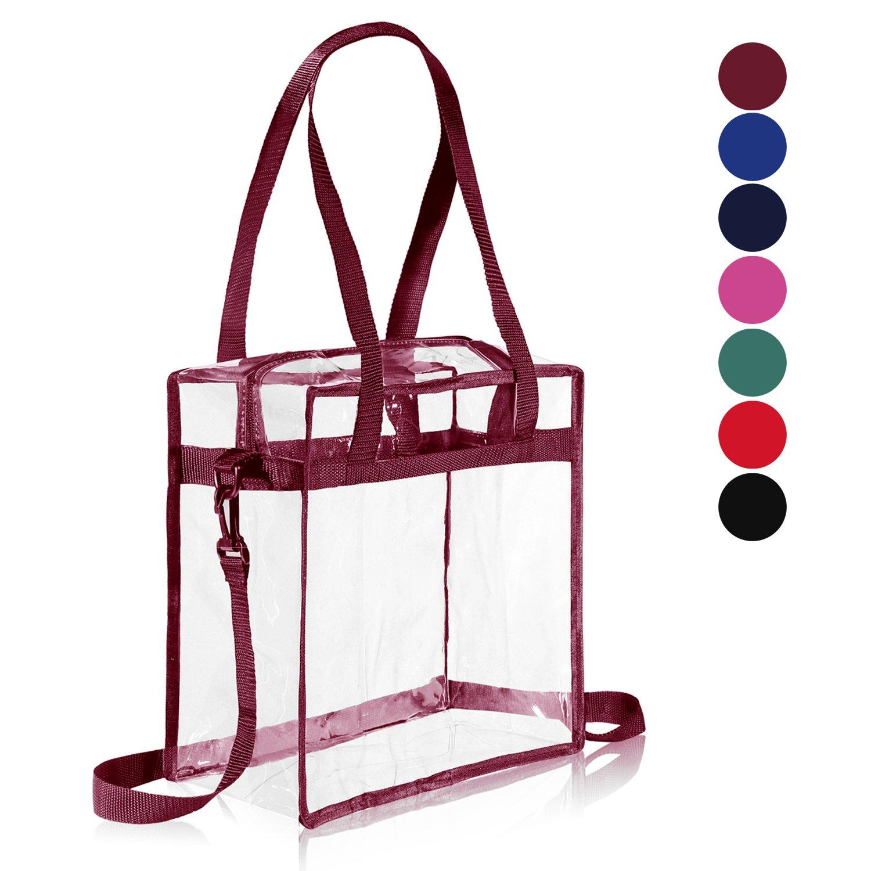 "Clear Cross-Body Messenger Shoulder Zippered Bag w Adjustable Strap, NFL & PGA Stadium Security Approved Travel & Gym Clear Tote Bag-12"" X 12"" X 6"" (Burgundy)"
