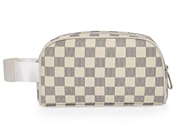 6af777f3bd85 Miracle Premium Checkered Cosmetic Toiletry Bag | Make Up Travel Bag for  Men Women | PU Vegan Leather...