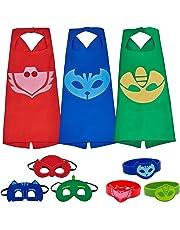 Letop Disfraces Capas de Dibujos Animados con Máscaras de Superhéroe para niños Parte 3 Pack