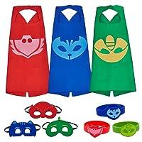 Letop Costumes de Super Héros pour Enfants - 3 Capes et Masques