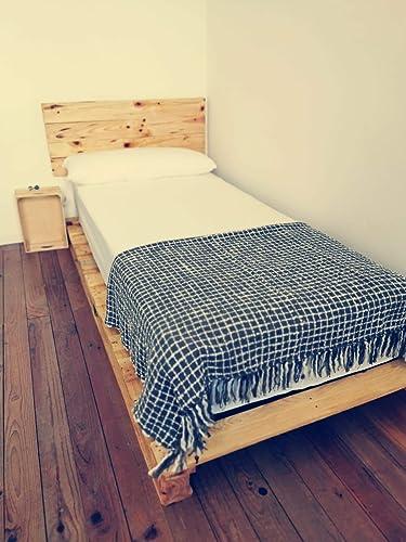 Cama de palets color madera Barnizada para colchón de 105 x ...